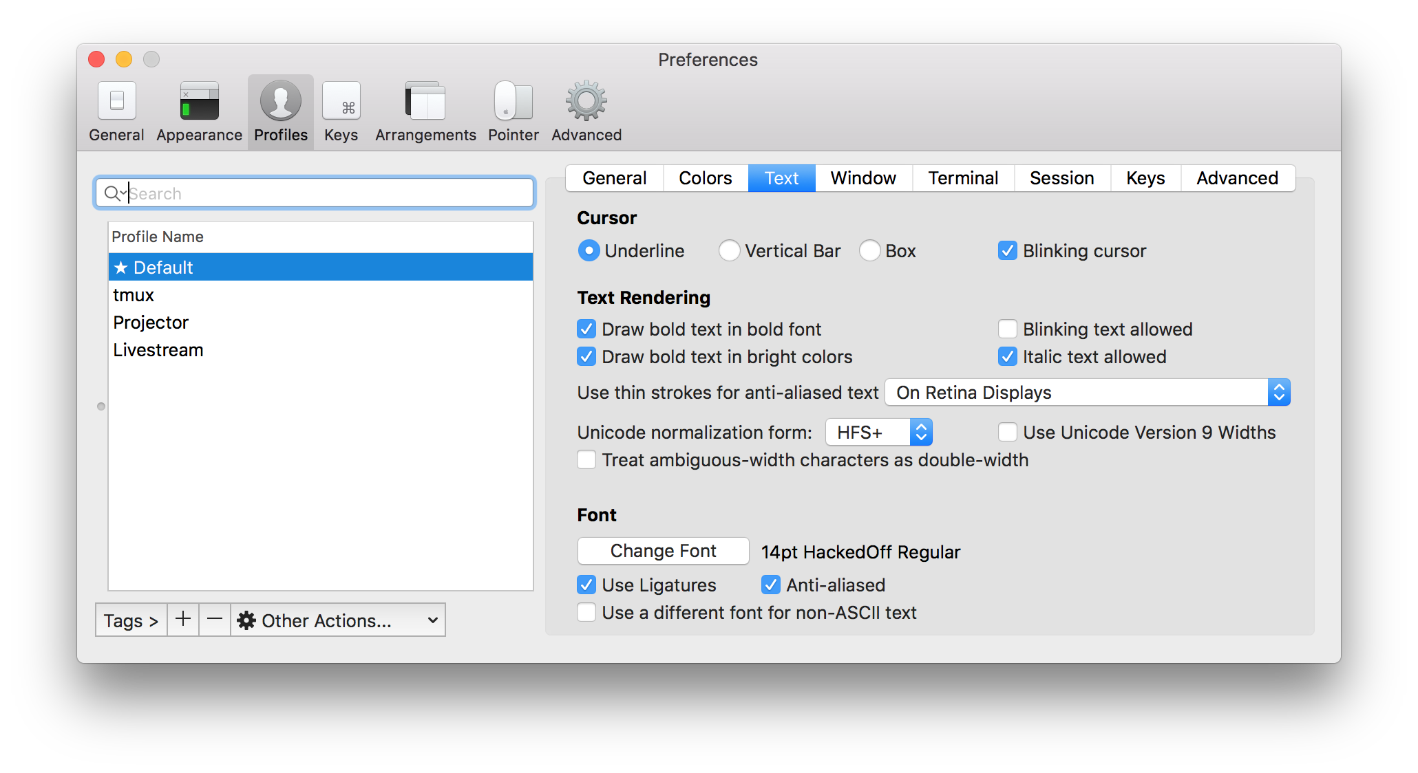 Screenshot of iTerm's settings window showing the profile's font changed to HackedOff Regular